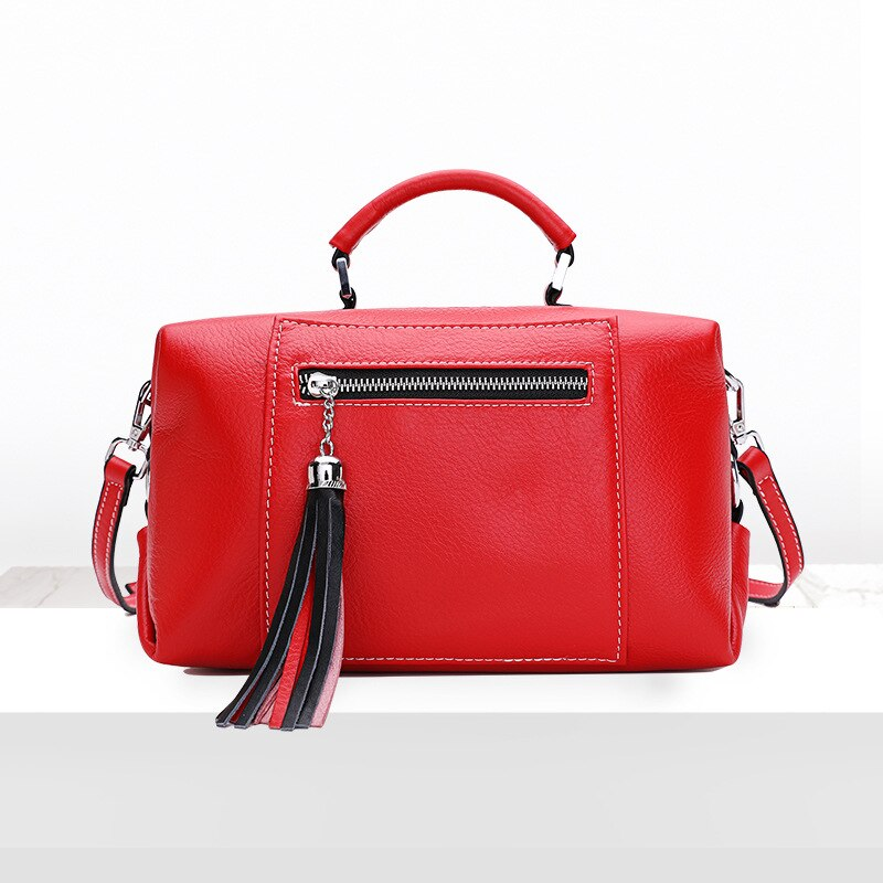 Women's new top layer cowhide large capacity Boston bag European and American style cross section tassel zipper portable Messeng - LiveTrendsX