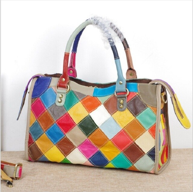 Hand Bags Women Casual Tote Large Colorful Cow Leather 2019 New Woman Fashion Handbags Patchwork Shoulder Crossbody Bags - LiveTrendsX