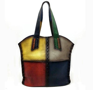 Random Color Vintage Genuine Leather Handbags Women Large Totes Female Bolsa Feminina Shoulder Bags Lady - LiveTrendsX