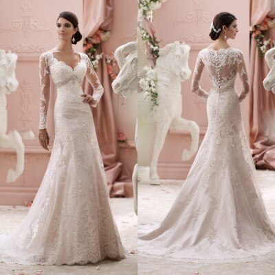 New Arrival Elegant 2019 A Line Organza Bridal Gown Long Sleeve Crystal Floor Length Wedding Dress - LiveTrendsX