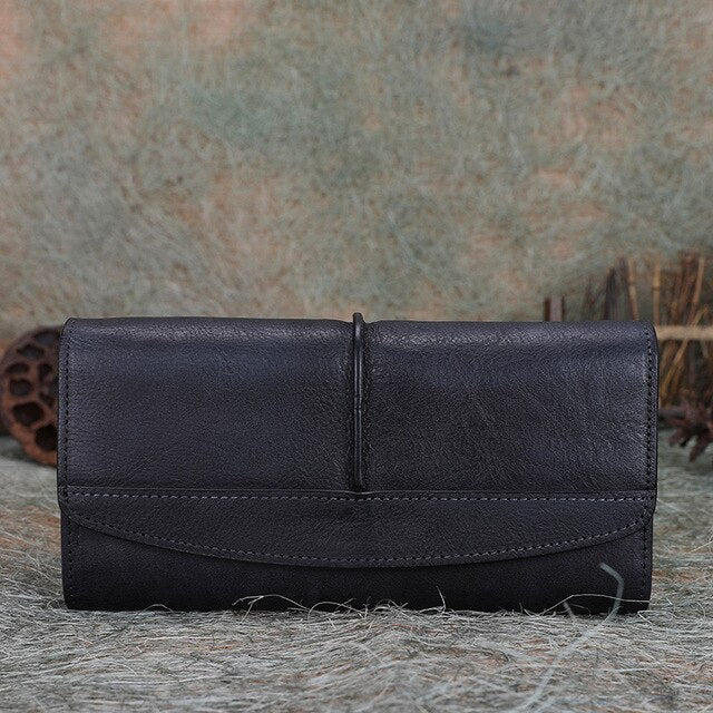 Cowhide Leather Trifold Wallet Women Long Genuine Leather Female Clutch Purse Hasp Female Phone Bag Girl Card Holder Pouch - LiveTrendsX