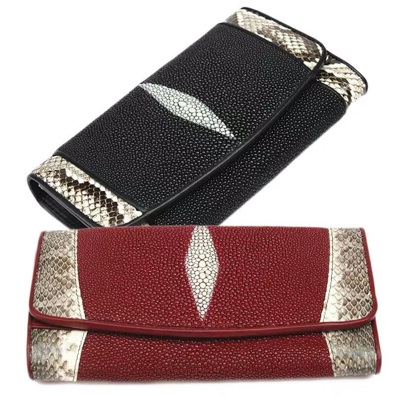 Authentic Real Stingray Leather Lady Long Wallet Large Card Holders Genuine Python Snakeskin Women Clutch Purse Female Money Bag - LiveTrendsX