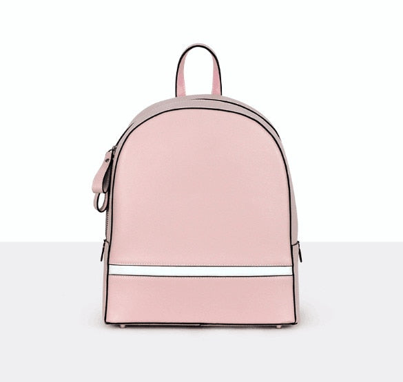 Genuine leather women small calf skin backpack outdoor leisure bag - LiveTrendsX