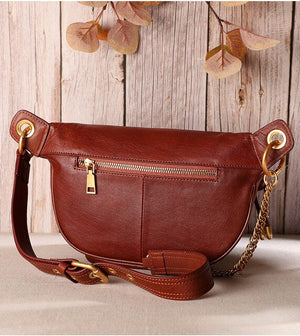 Women bag 2019 New fashion handbag retro trend chest bag top layer leather wild single shoulder diagonal handbag - LiveTrendsX