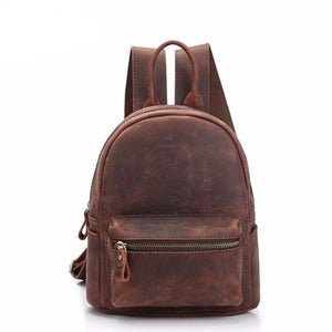 New Vintage Mini Size Women Genuine Leather High Quality Cowhide Small Backpack Ladies Travel Bag 2019 Casual Girl School Bag - LiveTrendsX