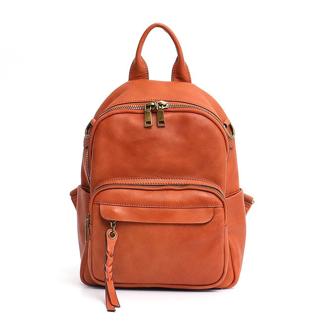 Italian Cow Leather Backpack For Women Front Zip Pcokets Design Lady Functional knapsack School Bag Belt Vintage Shoulder Bag - LiveTrendsX