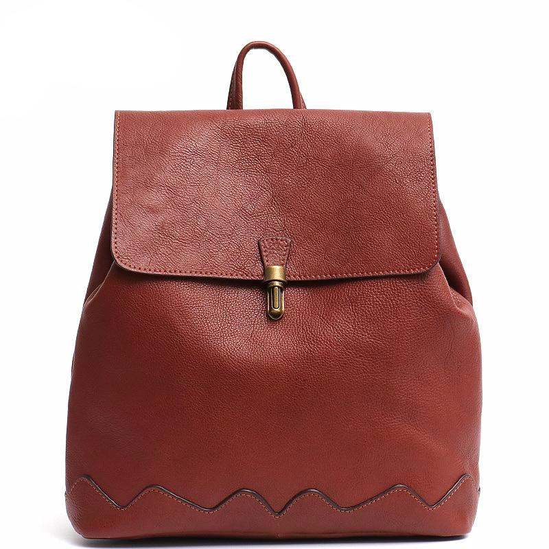 High Quality Italian Cow Leather Backpack For Women Fashion Girls School Bags Leather Flap Metal Lock Large Shoulder knapsack - LiveTrendsX