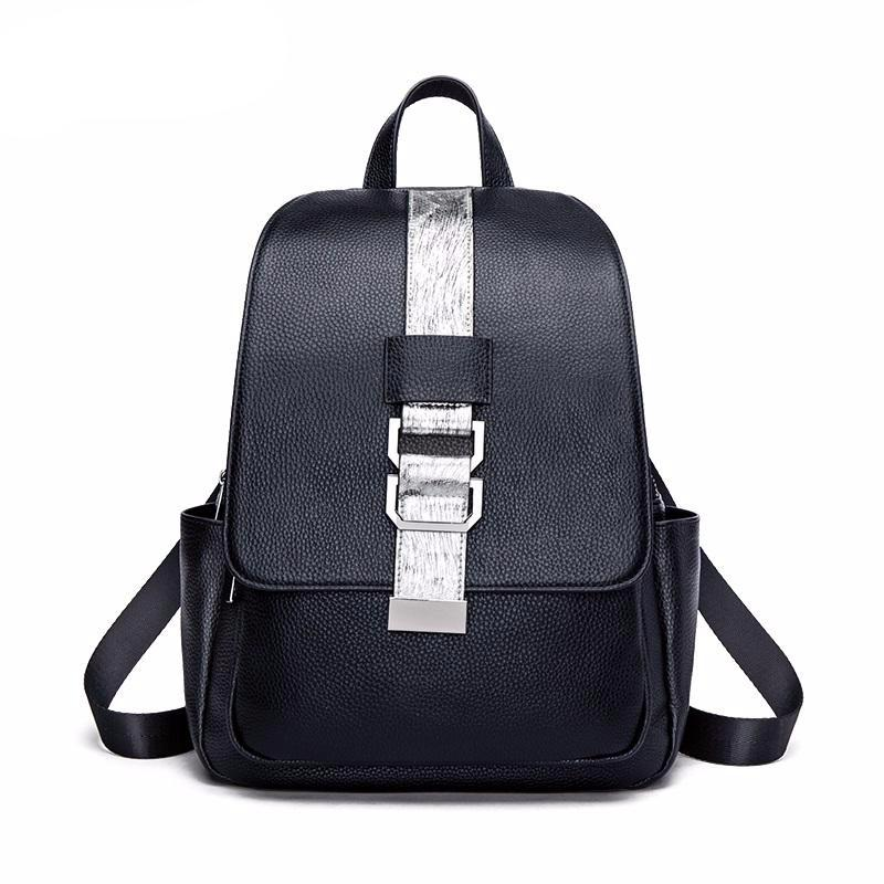 Cow Leather Backpacks Women Casual Belt Hardware Designed Black Genuine Leather Backpacks for Girls Fashion Female#HS206 - LiveTrendsX