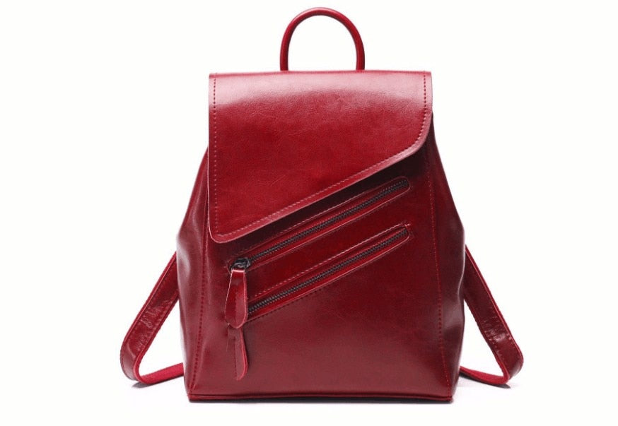 Genuine leather women fashion outdoor backpack school bag - LiveTrendsX