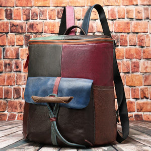 Retro-coloured Leather Shoulder Bag fashion personality lady backpack multi-function - LiveTrendsX