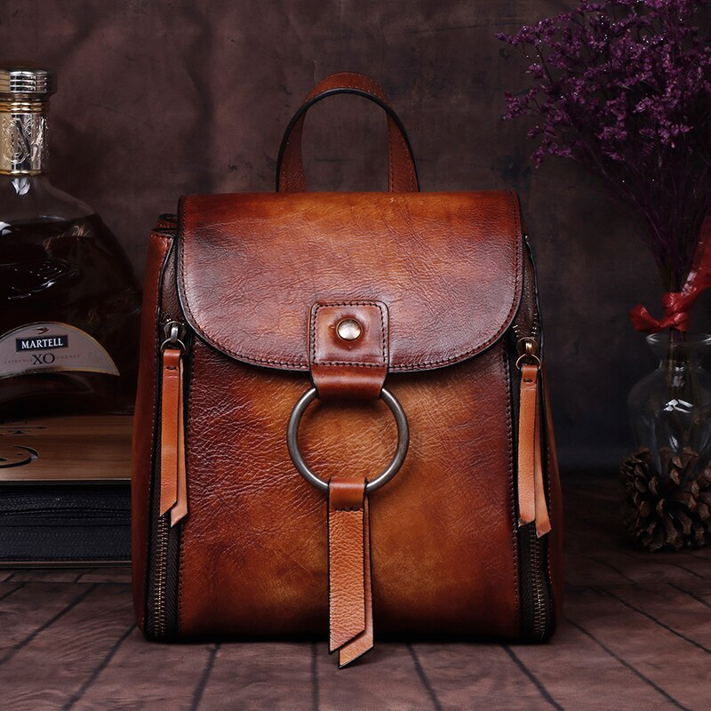 Female High Quality Genuine Leather Rucksack Girls Travel Bags Brush Color Daypack Knapsack Retro Real Cowhide Women Backpack - LiveTrendsX
