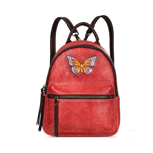 New Genuine leather Women backpack shoulder bag female first layer leather retro butterfly small backpacks casual female bags - LiveTrendsX