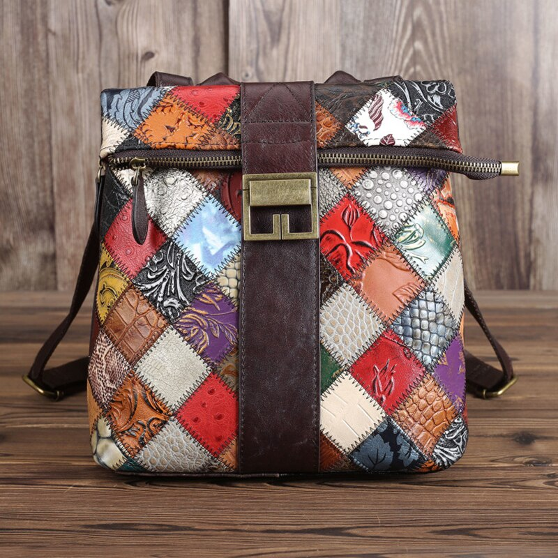 Genuine Leather Backpack Women Vintage Patchwork Small Backpacks Shoulder Bag School Bags Zip Daypack For Grils Female - LiveTrendsX