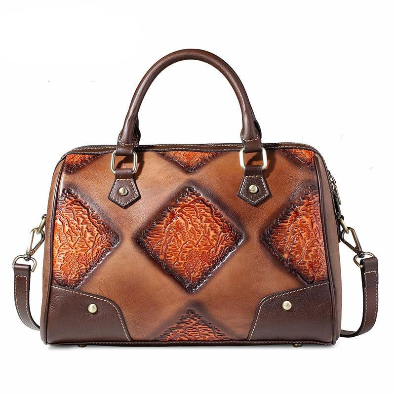 European and American leather vintage women's bag, leather retro shoulder bag, women's leather hand-held oblique cross bag - LiveTrendsX