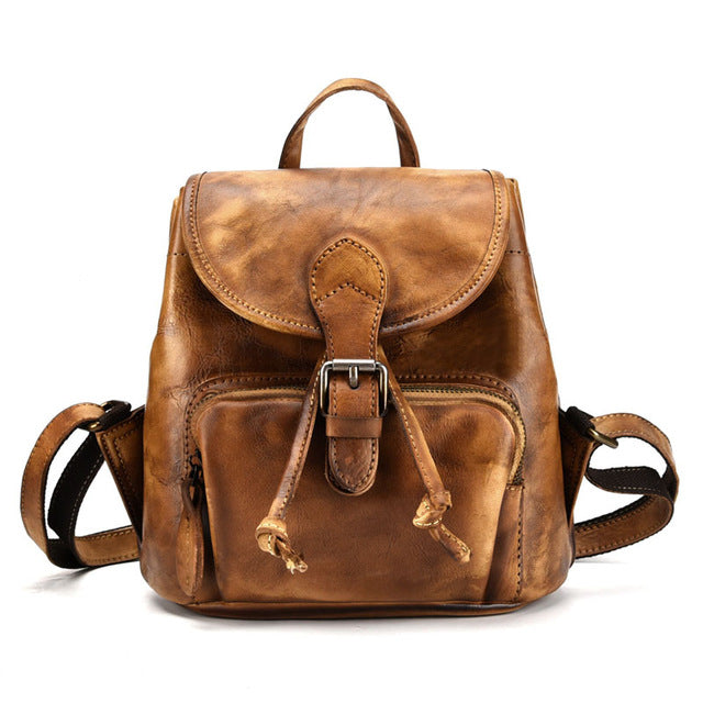 BJYL New retro first layer leather backpack casual backpack female hand-brushed leather tree high leather bag - LiveTrendsX