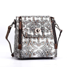 Load image into Gallery viewer, New Women cowhide shoulder diagonal backpack hand-wipe retro buckle bag vintage embossed female Genuine leather backpacks - LiveTrendsX