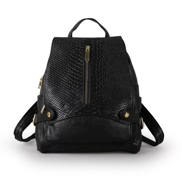 High Quality New Fashion Black Blue Silvery White Genuine Leather Women's Backpack Girl Lady Female Travel Bags M9009 - LiveTrendsX