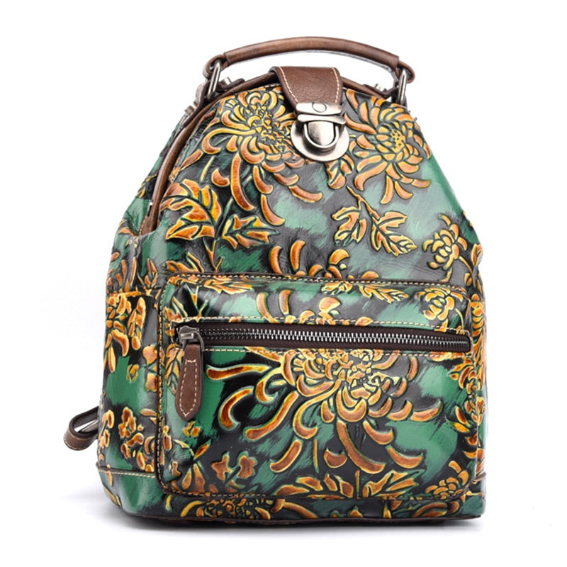 Women Genuine Leather Backpack Knapsack Embossed Chinese Style Brush Color Travel Bag Lady Daypack Vintage floral Rucksack - LiveTrendsX