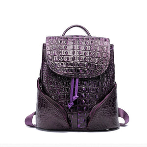New Vintage Alligator Genuine Leather Women Backpacks Quality Female Real Natural Leather Ladies Girl Student Casual Backpack - LiveTrendsX