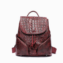 Load image into Gallery viewer, New Vintage Alligator Genuine Leather Women Backpacks Quality Female Real Natural Leather Ladies Girl Student Casual Backpack - LiveTrendsX