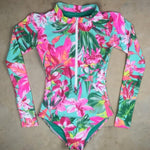 Long Sleeves Women One Piece Swimsuit Floral Swimwear Tropical Printed Monokini Backless Flamingo Bathing Suit Bodysuit Bain - LiveTrendsX