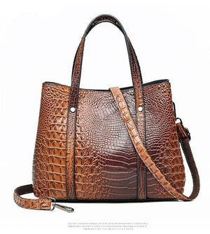 Women's handbag 2019 luxury high quality fashion ladies crocodile pattern shoulder oblique bag large capacity bag - LiveTrendsX