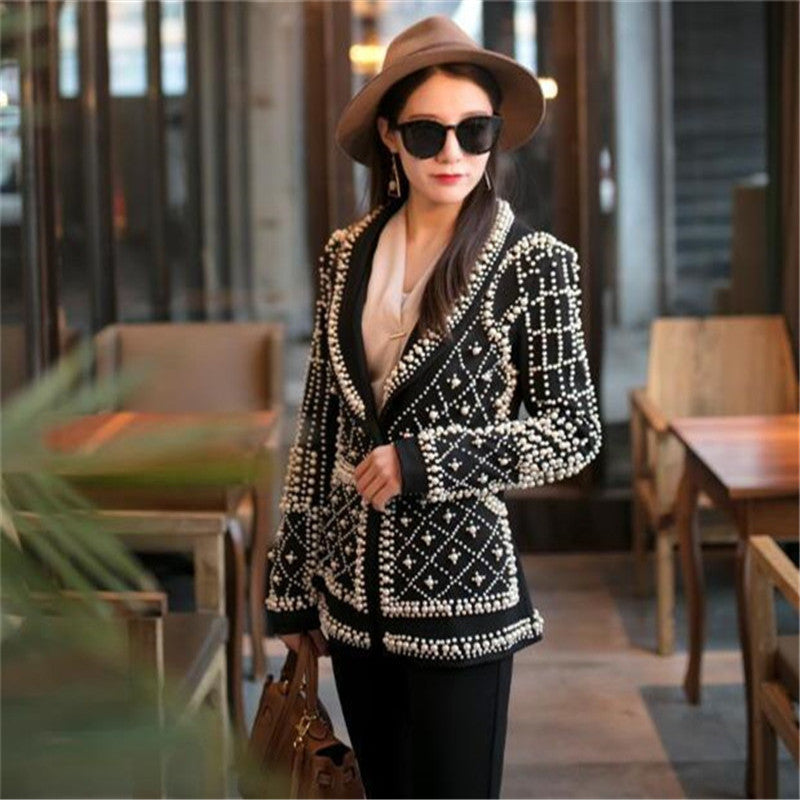 Women New Black Pearl Blazer Jacket Nightclub Costume Female Guest Ds Singer Dj Performance Party Celebration High Quality - LiveTrendsX