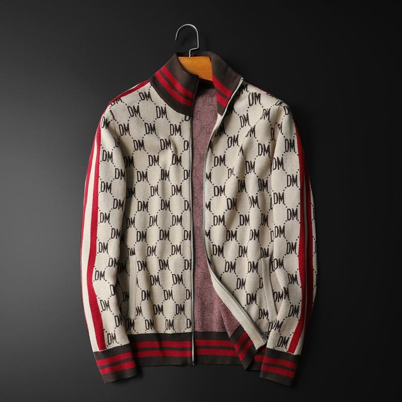 New Men Luxury Winter gentleman embroidery DM Striped Knit Casual Sweaters Cardigans Asian Plug Size High quality Drake - LiveTrendsX