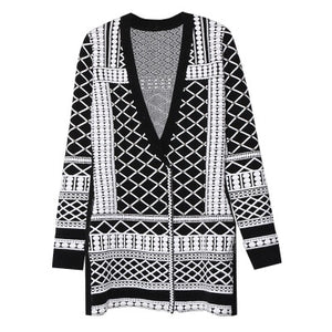 Black and white embossed beaded knit coat Single Breasted V-Neck Wide-waisted Hot style Free shipped 2019 autumn new style - LiveTrendsX