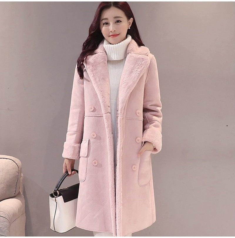 Women Suede Fur Coat Thick Warm Faux Sheepskin Long Jacket Female Overcoat 2019 Winter Fashion Solid Trench Coats Drop Shipping - LiveTrendsX