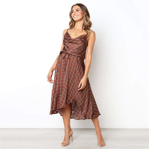 Vintage Women Plaid Dresses Summer Ruffles Strap Irregular Lace Up Dress Sleeveless Dresses for Female Vestidos - LiveTrendsX