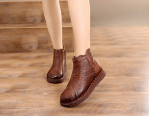 Handmade Retro Women Shoes Flat Boots 2019 Newest Comfort Warm Winter Boots Soft Cowhide Leather Boots Shoes - LiveTrendsX