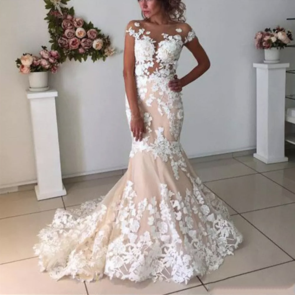 Champagne Mermaid Wedding Dresses 2020 Backless Robe de Mariee Vintage Lace Floral Applique Cap Sleeves Bridal Gowns Formal Long - LiveTrendsX
