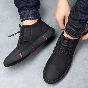 High quality all Black Men's leather casual shoes Fashion Breathable Sneakers fashion flats big plus size 44 YYJ153 - LiveTrendsX