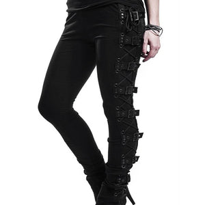 Women Gothic Style Black Pants Rivet Buckle Strap Casual Trouser Winter Spring Skinny Trousers Female Cosplay Sport Pencil Pant - LiveTrendsX