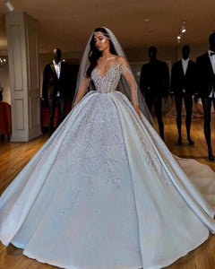 Luxury Arabic Ball Gown Wedding Dress Long Sleeve With Large