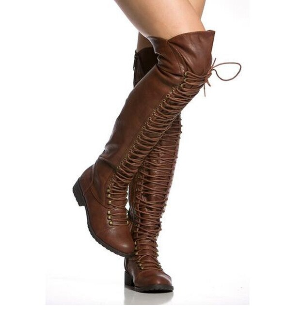 Women Winter New Fashion Lace-up Leather Over Knee Flat Boots Brown Black Zipper-up Long Knight Boots High Quality Warm Boots - LiveTrendsX