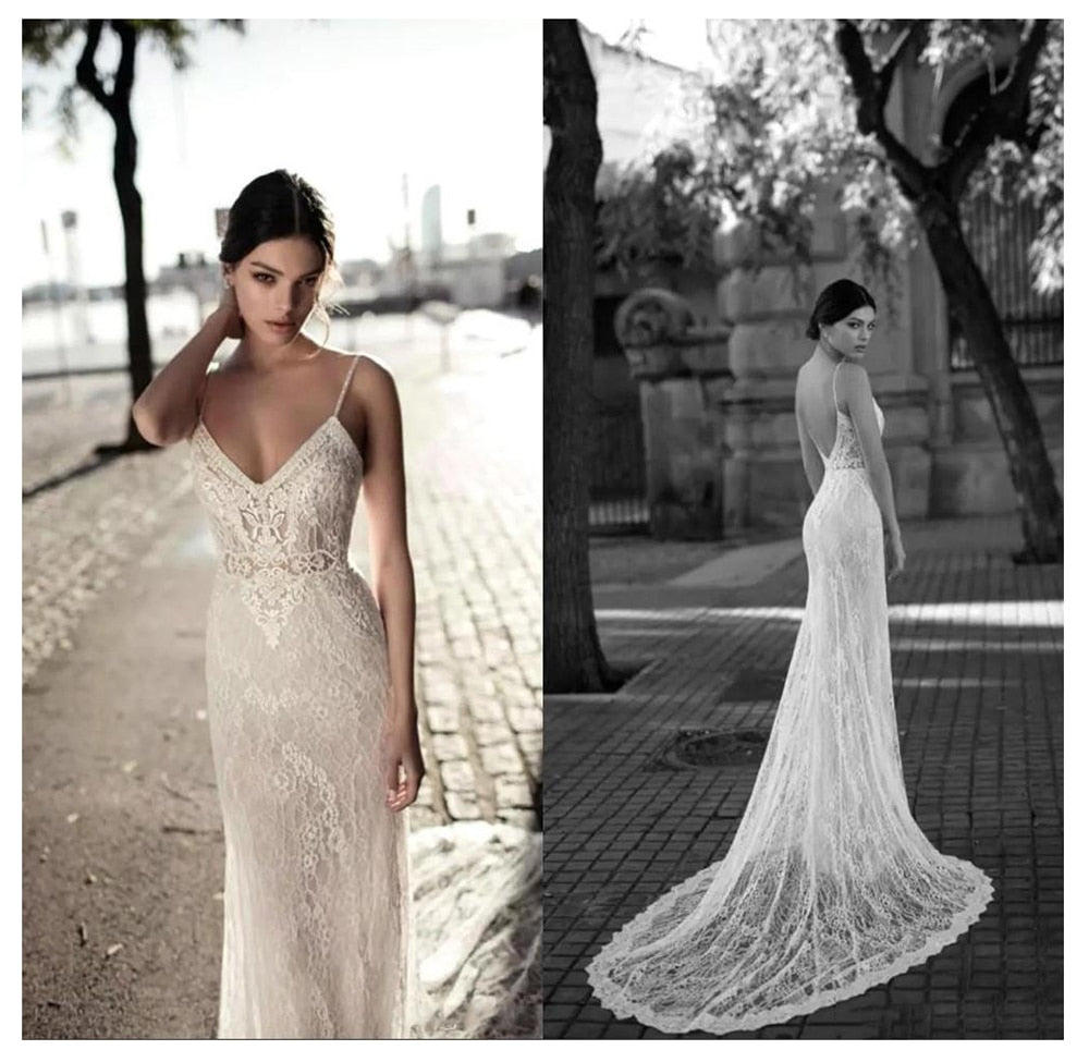 Lace Mermaid Wedding Dress Vestidos de novia Spaghetti Straps Lace Sexy Bridal Gown Elegant Backless Wedding Gowns - LiveTrendsX