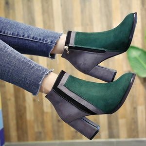 Mixed Colors Sewing Mid Calf Boots for Women Novelty Flock Pointed Toe Autumn Boots High Square Heel Winter Ladies Shoes - LiveTrendsX