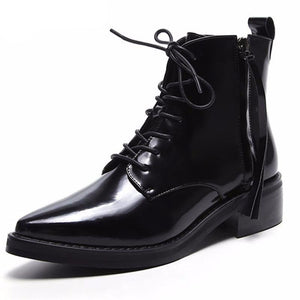 Cow genuine leather boots zip+cross tied med heels autumn winter boots pointed toe ankle boots for women party shoes - LiveTrendsX