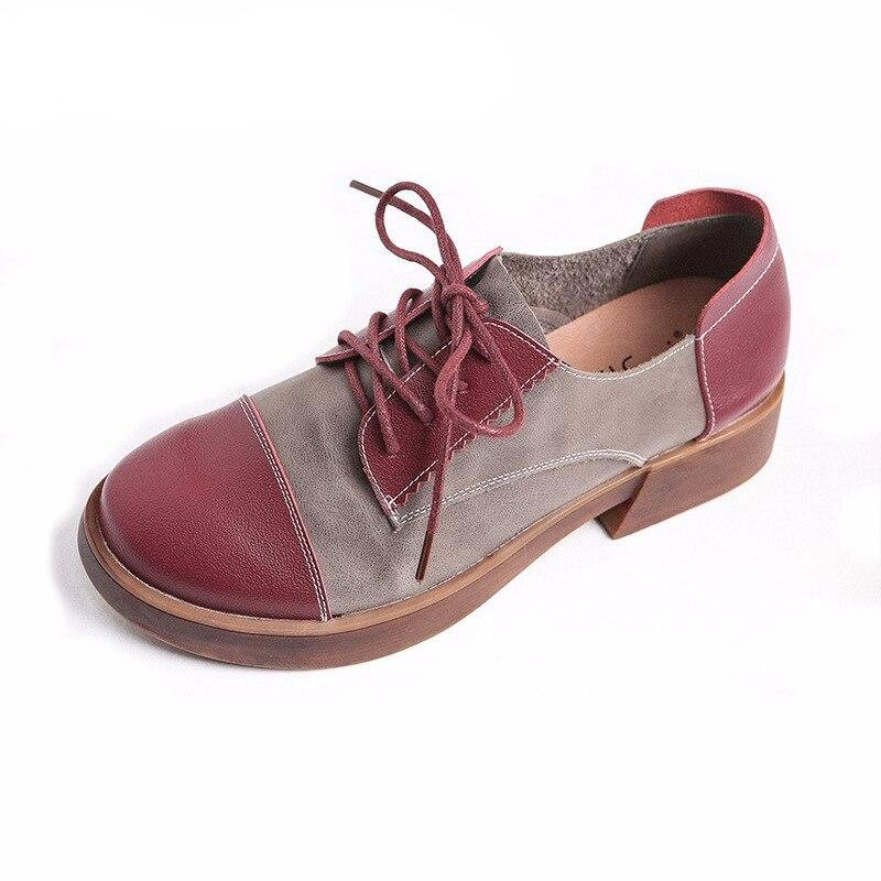 Genuine leather women casual shoes soft loafers patchwork spring autumn oxfords fashion flats - LiveTrendsX