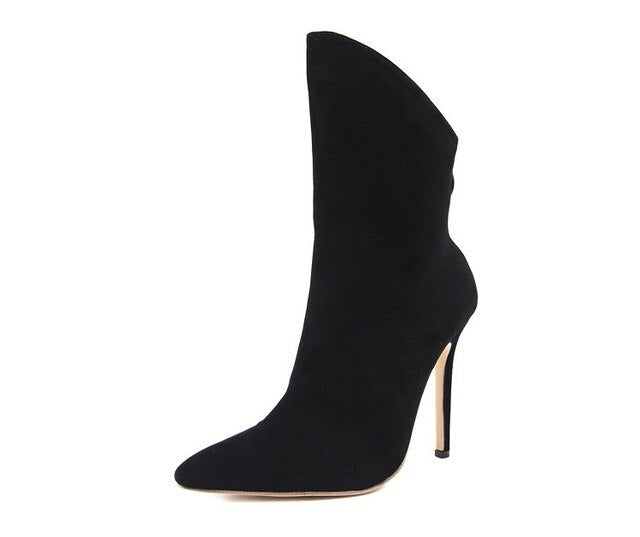 Women shoes autumn winter high heels faux leather ladies boots mid calf fashion sexy pointed toe stiletto black white boots - LiveTrendsX