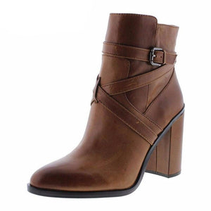 Female Ankle Boots Brown Lady Adult Shoes Super High Square heels Round Toe Buckle Spring/Autumn Mature Elegant Fashion 2019 - LiveTrendsX