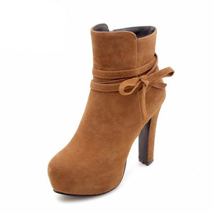 4 Color Women Ankle Boots Platform Winter Warm Fur Shoes Woman Bowtie Strap  High Heels Short Boots Size 34-43 - LiveTrendsX