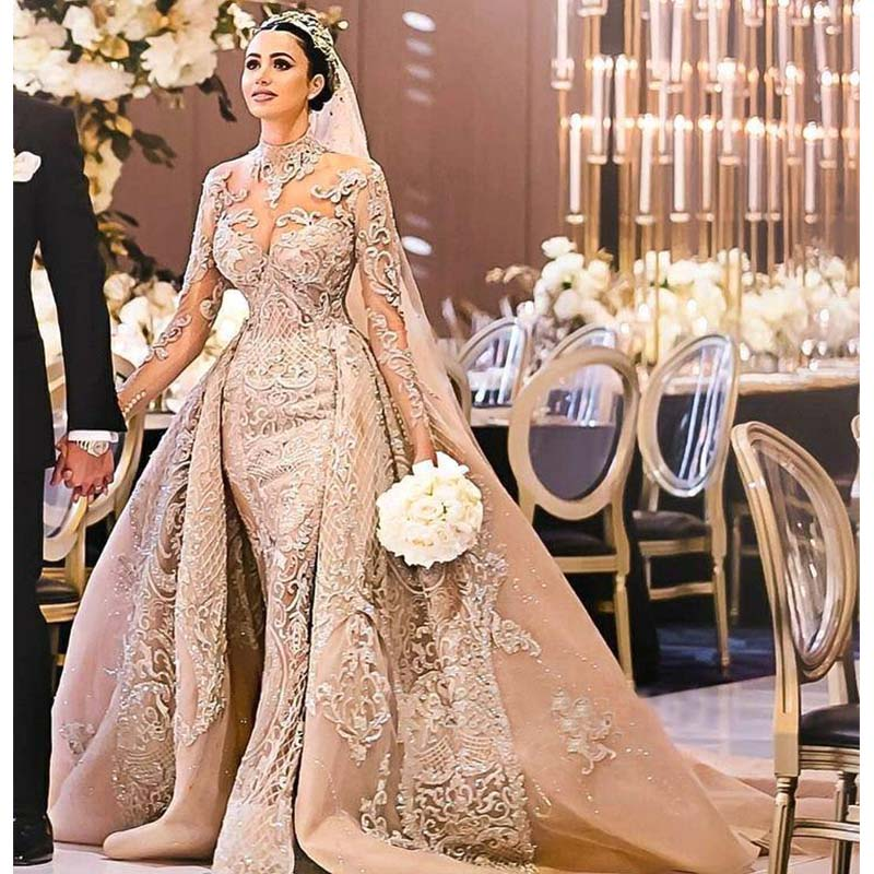Robe De Mariee Luxury Long Sleeves Ball Gown Wedding Dresses High Neck Wedding Gowns with Over Skirt - LiveTrendsX