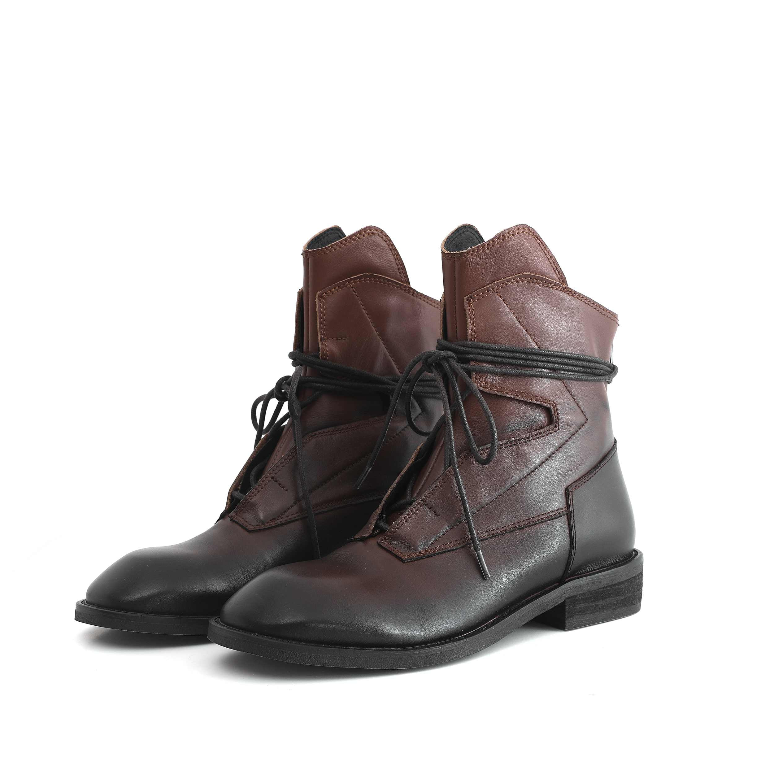 genuine leather leisure boots round toe med heels winter women fashion lace up rock ankle boots