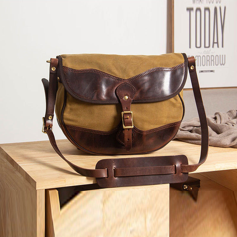 Vintage Handmade Leather Shoulder Bag Leather Canvas Cross Body Bags For Men Male Cowhide Boy's School Bags Retro Men Bag - LiveTrendsX