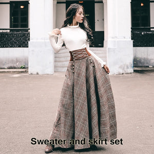 Autumn Winter Long Sleeve Blouse Top and Woolen Plaid Skirt and Top Set Suit Women Two Piece Outfits Sweater Skirt