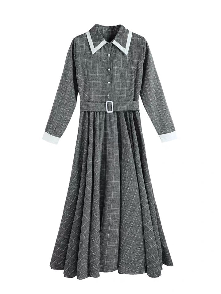 Autumn Winter Maxi Vintage Plaid Long Women Dress Woolen Gray Shirt Dresses Female Vestidos Evening Party Costumes