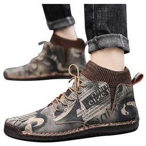 Combat Boots Men Casual Shoes Men Breathable Socks Locomotive Retro Tooling Shoes motorcycle boots men Work Shoes male - LiveTrendsX